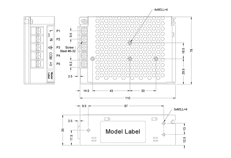 outline dimensions (mm) for aeu 65 series switch mode power supplies