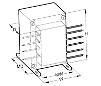 Outline Dimensions - Chassis Mount Leaded World Series™ Power Transformers (VPL28-2000)
