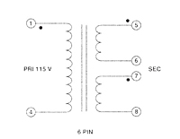 6 Pins Schematic - PC Mount Split Pack™ Class 2/3 Power Transformers (F10-110-C2)