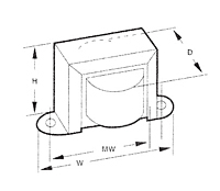 Outline Dimensions - Single Secondary Chassis Mount Power Transformers (F-1X) - Case Type X