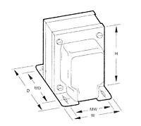 Outline Dimensions - Single Secondary Chassis Mount Power Transformers (F-21A) - Case Type A