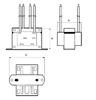 Outline Dimensions - Class-2 Power Control Transformers (TCT40-01E07K)